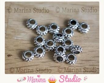 20 7mm Tibetan silver beads