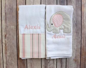 Monogram Baby Girl Elephant Burp Cloth Set - Pink and Grey Elephant Burp Cloth - Personalized Elephant Baby Gift - Baby Shower Gift
