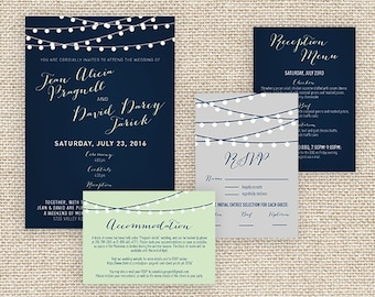Navy Blue and Mint Green String Light Wedding Invitation Suite