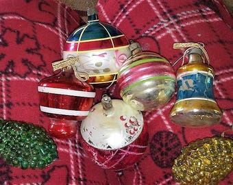 Sale-7 Antique Glass Christmas Ornaments- Bell, Pinecones, Balls