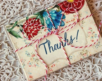 cheerful floral thank you note set - wedding thank you cards - colorful thank you notecards