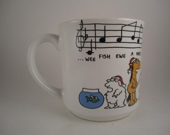 Vintage We Wish you a Merry Christmas Song Coffee or Tea Mug or Cup Sandra Boynton Recycled Paper Products