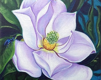 Magnolia (flower, floral, nature, night, beetle, southern, new orleans, louisiana, gulf coast, state flower, decor, acrylic painting)