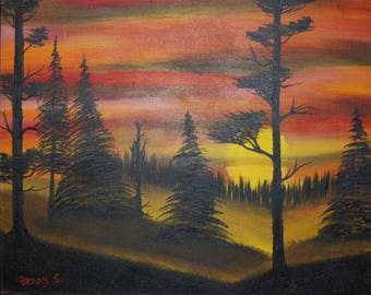 """Original Oil Painting """"SUNSET SILHOUETTE"""" on Canvas 20"""" x 16"""" (Art/Landscape) Free Shipping!"""