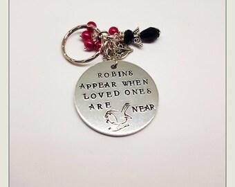 WHEN A ROBIN Appears. Memorial Keepsake. Robin. Beads. Heart.  Handstamped.