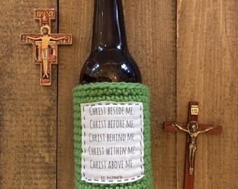 Beer cozy. St Patricks day accessories. Beer lover gift. Gift for him. Beer gift. Beer sleeve. Saint Patrick prayer. Catholic gifts for men.