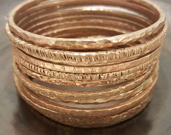 Copper Bangle with Rose Gold Colour Patina