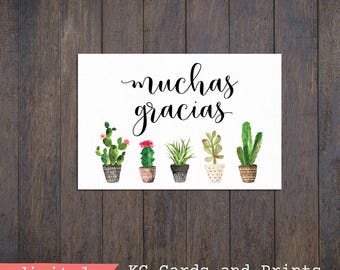 Cactus Muchas Gracias Card, 5x7 and 4x6, Printable, Cactus Card, Instant Download
