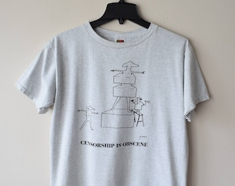 90s Censorship is Obscene T-Shirt // Political Satire Cartoon Against Banned Books - Resist, Protest, Art and Educational Rights, NCAC NYC