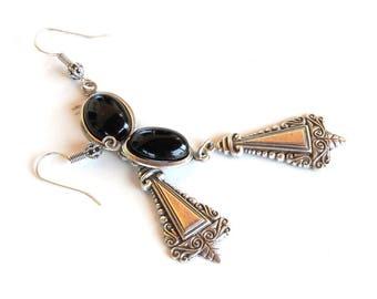 Gothic Earrings Silver and Black Onyx Earrings Ethnic Style Earrings Ethnic Jewelry Gothic Jewelry