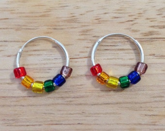 Rainbow Earrings - Rainbow Jewelry - Sterling Silver Hoop Earrings - Silver Hoop Earrings