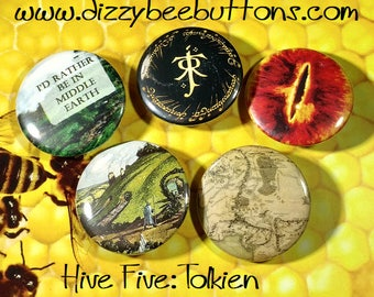 Hive Five -Tolkien Edition - Set of 5 JRR Tolkien inspired designs - Pinback Buttons or Magnets - Lord of the Rings - The Hobbit - Sauron