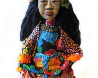 OOAK Folk Art Doll Mexican Woman with Floral Headpiece at Marketplace a Cloth and Clay Art Doll Wall Hanger
