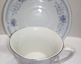Cup and Saucer Set Pale Blue FLoral Band Motif Made in China
