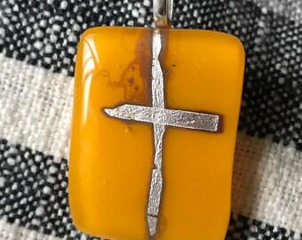Free form cross fused glass pendant