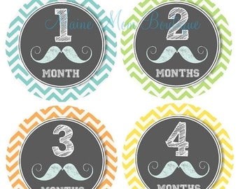 Monthly Baby Boy Stickers, Baby Boy Month Stickers,  Milestone Stickers, Baby Photo Prop, Chalkboard Mustache, Little Man Gift