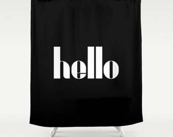 36 colours, HELLO Quote Shower Curtain, Bauhaus shower curtains, Black and white decor, Typography shower decor, Retro bathroom decor