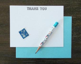 Thank You Letterpress Flat Notecards Set of 10