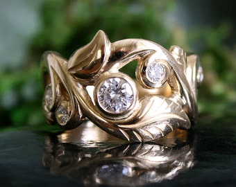 Leaf Ring,Multi Diamond Ring, Engagement Ring, 14k Gold, .76 Carats Total Diamond Weight, Bezel Set, Gypsy Set, Handmade