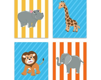 Baby Boy Nursery Decor, Baby Nursery Jungle Animals Set of four Prints , Hippo Elephant Lion Giraffe