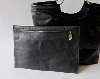 Black leather clutch minimalist evening bag hand made black leather cosmetics zippered pouch large black leather clutch
