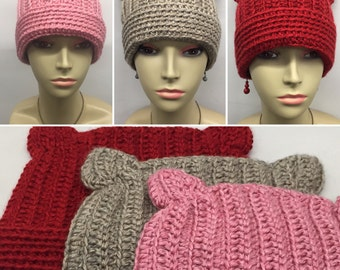 Crochet Stalish Kitty Hat