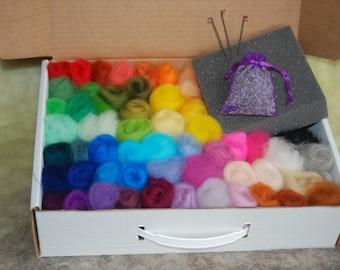 Needle Felting, Box Kit with Lavender Sachet, 3 *36 Gauge Felting Needles, Soy Based Foam, Felting Kit, DIY, Christmas Gift