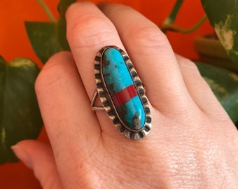 Vintage Turquoise Ring- Sterling Silver- Red Coral- Navajo Jewelry- Oval Turquoise Ring- Womens Size 6 and a Half- Festival Jewelry