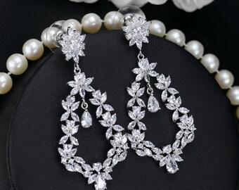 Floral Bridal earrings, Bridal post earrings, Wedding Earrings, Long Dangle Teardrop, Bridal Jewelry,  Cubic Zirconia Drops