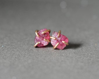 Pink Crystal Stud Earrings, Tourmaline in Rose Gold, Modern Prong Earrings, Small Post Earrings, Raw Crystal Jewelry, Pink Anniversary Gift