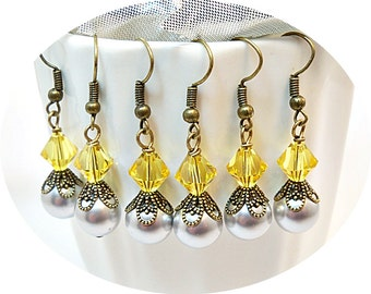 Gray and Yellow, Yellow and Gray, Earrings, Bridal Accessories, Bridesmaid Jewelry Wedding, Bridesmaid, Antiqued Bronze, Dangle