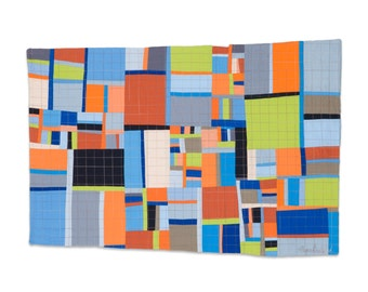 """Art Quilt, Quilt Art, Wallhanging. Motif #16. 18""""H x 27""""W. Pieced and quilted in 100% cotton, hanging sleeve."""