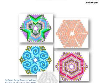 Beadweaving Tutorial for Peyote Mandala shapes: Instant Downloadable Pattern PDF File