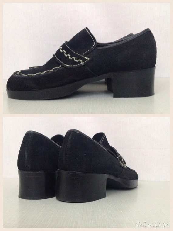 Checks Chunky Leather White Girl Heel 1960s Black heel 60s 1970s Suedehead NOS Vintage Women's 70s Platform 4D Soul Loafers Deadstock qwF8WY