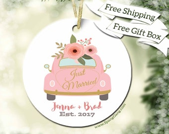 Just Married Ornament | Wedding Car Ornament | Wedding Ornament | Wedding Gift | Wedding Gifts for Bride Groom | Bridal Shower Gift | WE09