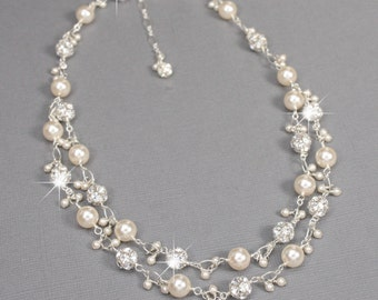 Sterling Silver Pearl and Rhinestone Wedding Necklace, Swarovski Crystal Pearl Double Strand Bridal Necklace, White or Ivory Pearl