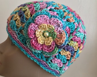 Women's crochet hat, summer / spring, chemo hat / cap, COTTON, bright multi colored, removable flower,  Ready to ship.  S84