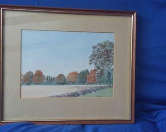 Original Watercolour Autumn Colours Near Priors Marston