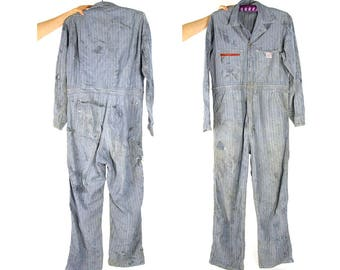 """60s Distressed Engineer Coveralls / Vintage 1960s Mended Rail Chief Sanforized Denim Workwear Jumpsuit Mechanic Surplus Overalls / 47"""" Chest"""