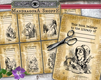 Alice bookplates  8x  Wonderland library cards for book lovers ex libris instant download printable digital collage sheet book plate cards