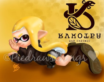 "PREORDER Rockenberg Inkling girl pin-up style ""ad"" drawing- original art print, Splatoon 2 in game ad redraw"