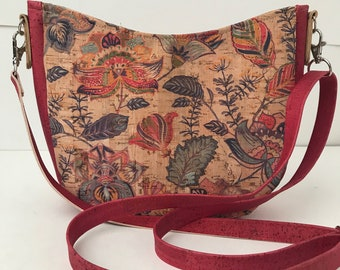 Cork Bag/Hobo Bag/Crossbody Bag/Purse/Pouch with Adjustable Strap- Magic Garden w/Dark Pink Cork