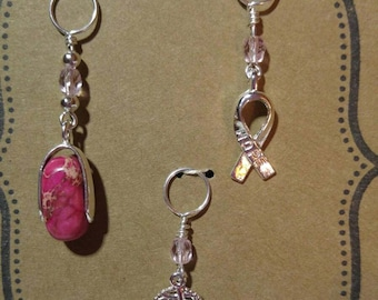Silver tone knitting stitch markers in a pink theme set of 3