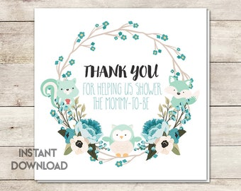 Baby Shower Favor Tags, Baby Shower Thank You, Shower Mommy to Be, Woodland Baby Shower, Baby Shower Boy, Shower Invite, Printable No. 1009