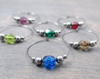 8 crystal wine charms | gift box | wine glass charm - unique wine gift - wine markers - wine party - drink charms - wine charm set NPC8-1