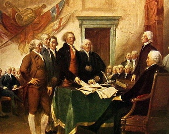 The Declaration of Independence by Trumbull - Fine Art Print - Masterpiece Painting - Reproduction Print - 12 x 10