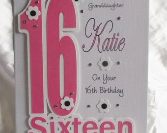 21st granddaughter etsy personalised handmade 16th 18th 21st birthday card daughtergranddaughter god daughter niece bookmarktalkfo Gallery