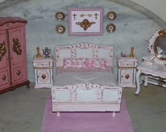 French Country Bedroom for 1:12th Dollhouse.    Painted and Glazed.