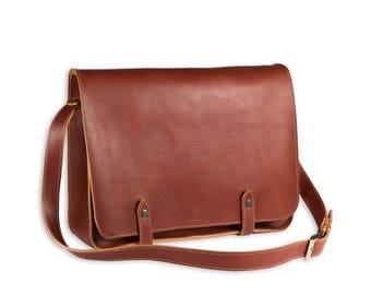"Brown LEATHER MESSENGER BAG - 15"" men's briefcase - 13""Laptop satchel - Tuscan leather bag - Full grain leather briefcase"