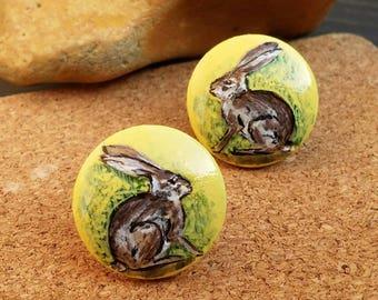 Hare earrings, bunny earrings, rabbit earrings, animal jewelry, easter bunny, hand painted earrings, wooden earrings, stud earrings, hare